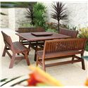 Jensen Leisure Beechworth Amber Outdoor Wood Bench - Shown with Table and Lazy Susan