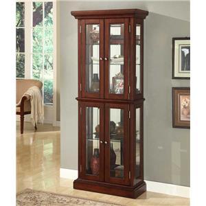 JGW Furniture Curio Cabinets Double Door Cherry Curio Cabinet