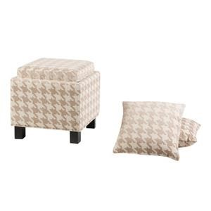 JLA Home Shelley Square Storage Ottoman with Pillows