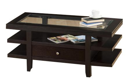Jofran Marlon Wenge Cocktail Table w/ 3 Tier Shelves - Item Number: 091-1