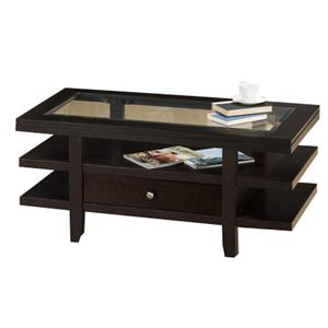 Jofran Marlon Wenge Cocktail Table w/ 3 Tier Shelves