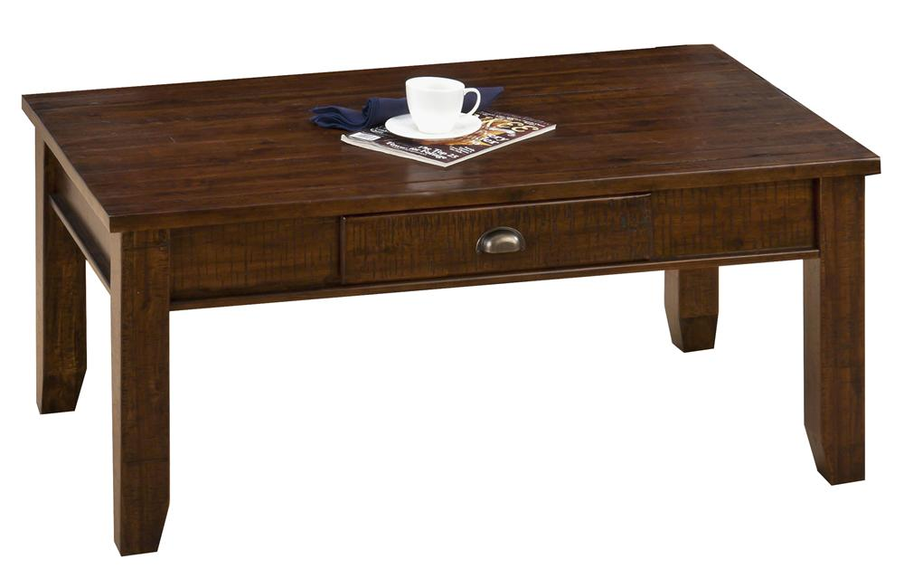 Urban Lodge Brown Casual One Drawer Coffee Table With Tapered Block Legs Ruby Gordon Furniture