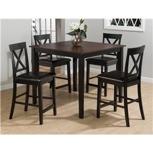 Jofran Burley Brown and Black 5 Pack Counter Table and Stool Set