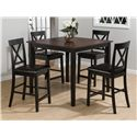 Jofran Burley Brown and Black 5 Pack Counter Table and Stool Set - Item Number: 262