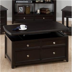Corranado Espresso Casual Espresso Lift-Top Cocktail Table wtih 2 Pull-Through Drawers & Casters by Jofran