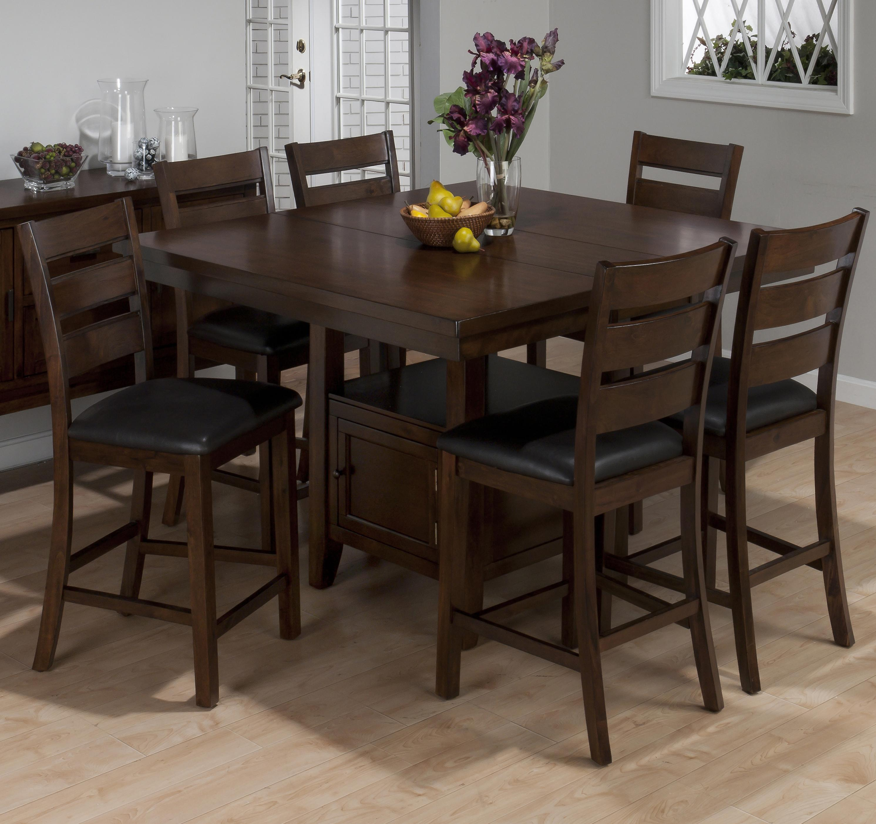 Jofran Taylor Brown Cherry 7 Piece Counter Height Dining Set - Item Number 337- & Jofran Taylor Brown Cherry 7 Piece Counter Height Dining Set with ...
