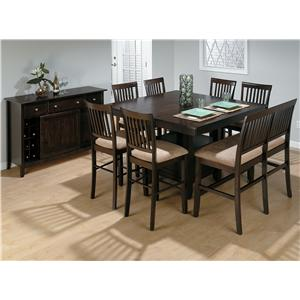 Jofran Bakery's Cherry Counter Height Table, Bench, and (6) Stools