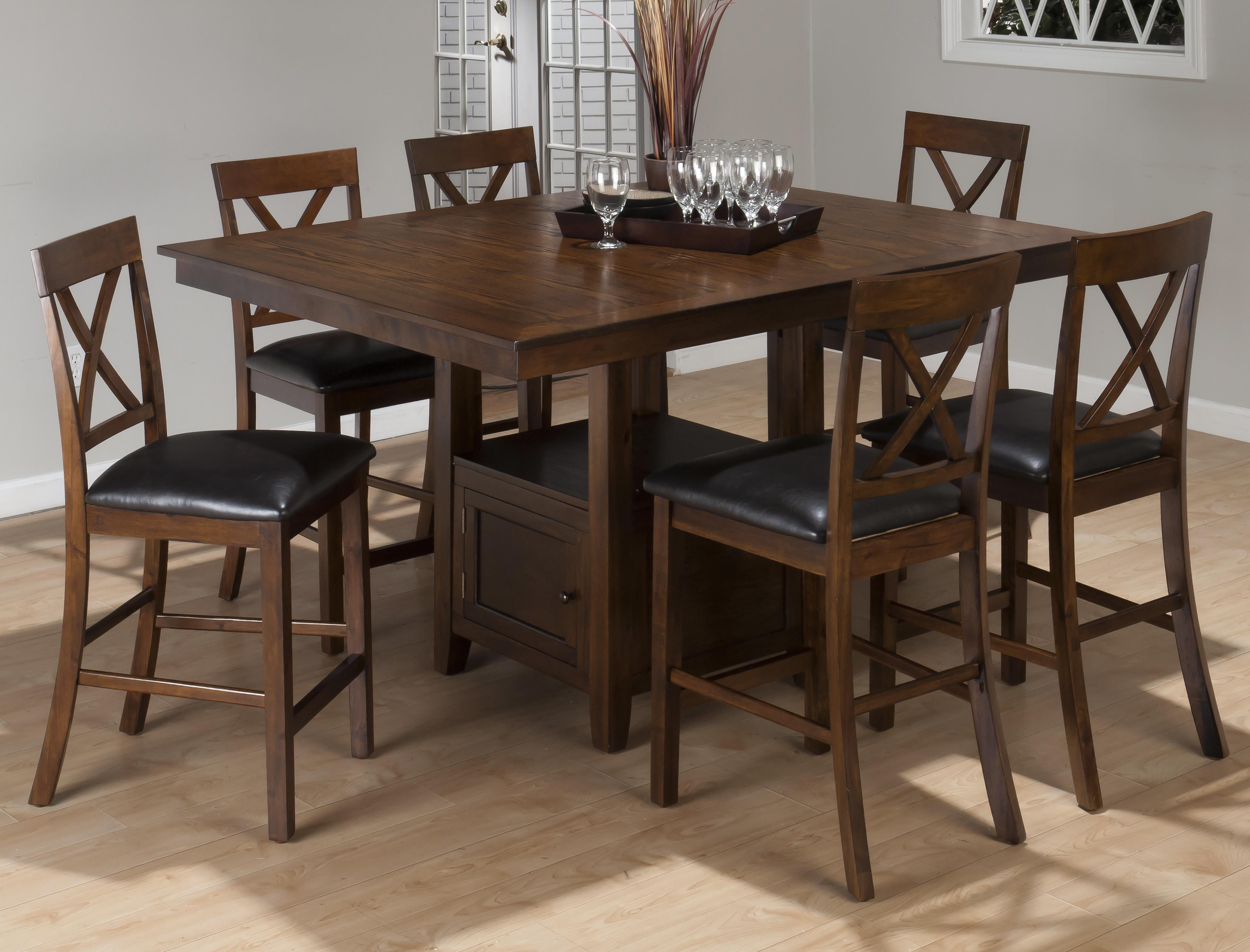 Jofran Olsen Oak 7-Piece Counter Height Dining Set - Item Number: 439-60B+T+6xBS103KD