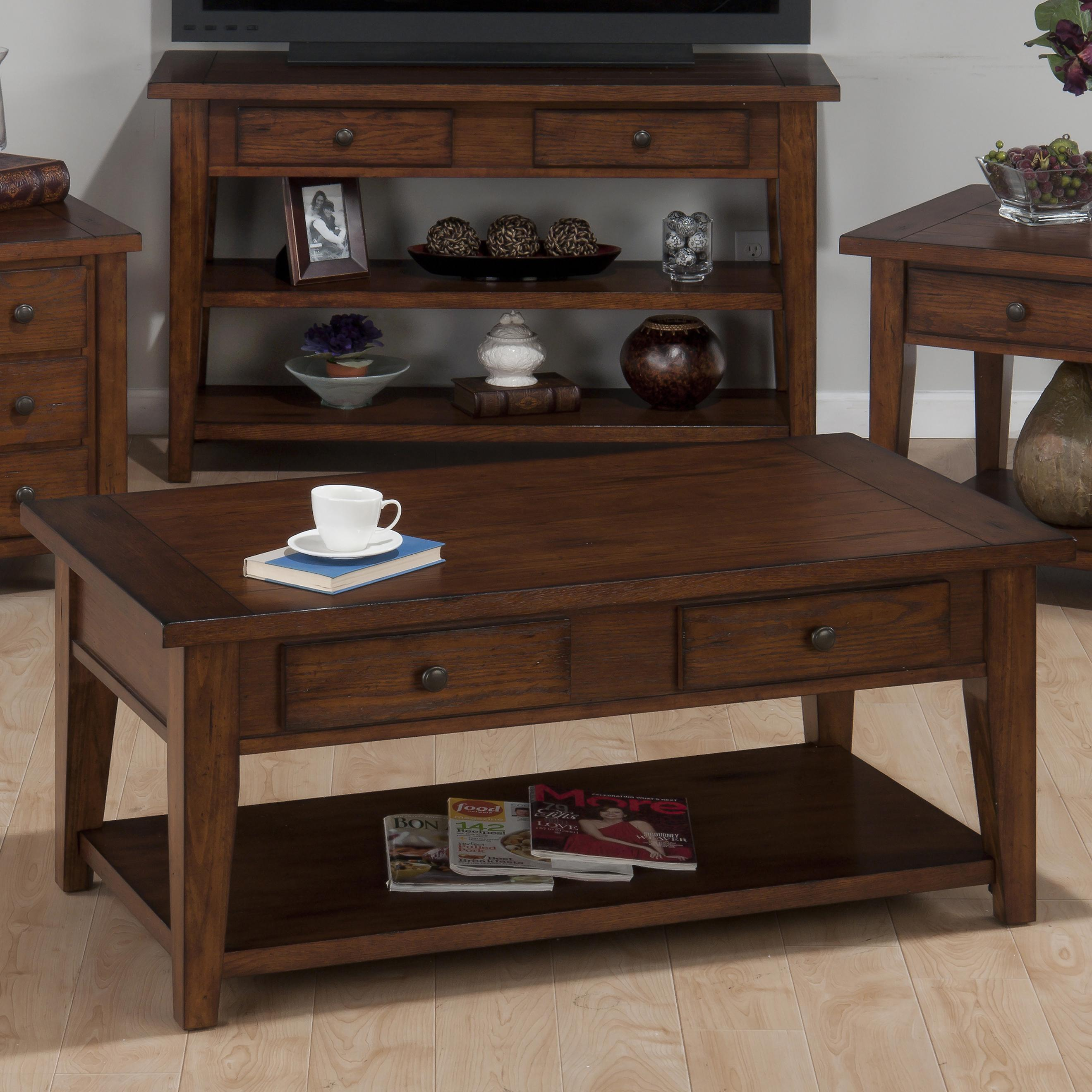 Clay County Oak Double Header Cocktail Table by Jofran at Mueller Furniture