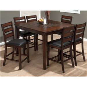 Jofran Baroque Pub Table and Slat Back Chair Set
