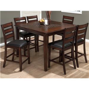 Jofran Baroque Brown Pub Table and Slat Back Chair Set