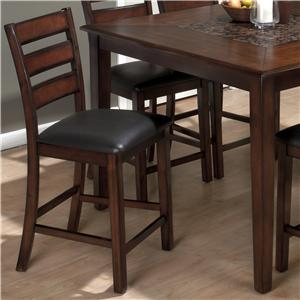 Jofran Baroque Slat Back Pub Stool with Faux Leather Seat