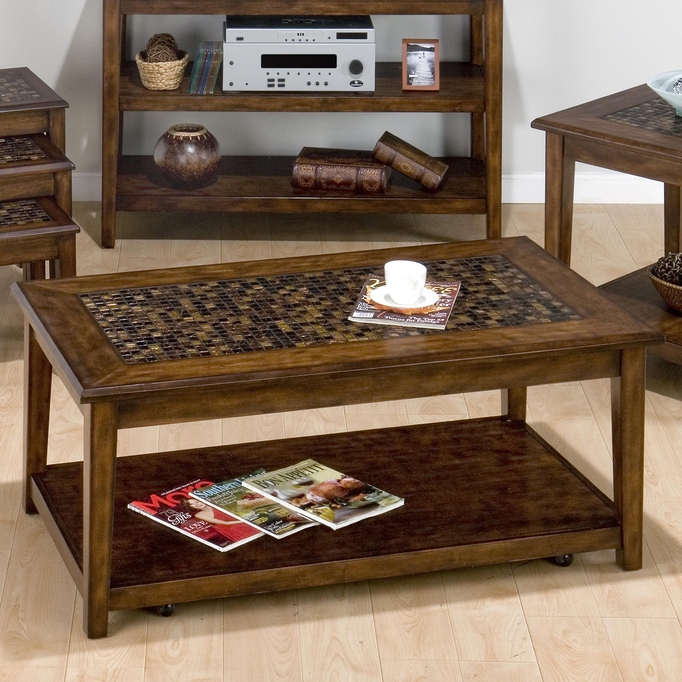 Slate Coffee Table With Drawers: Belfort Essentials Baroque Brown Mosaic Tile Inlay