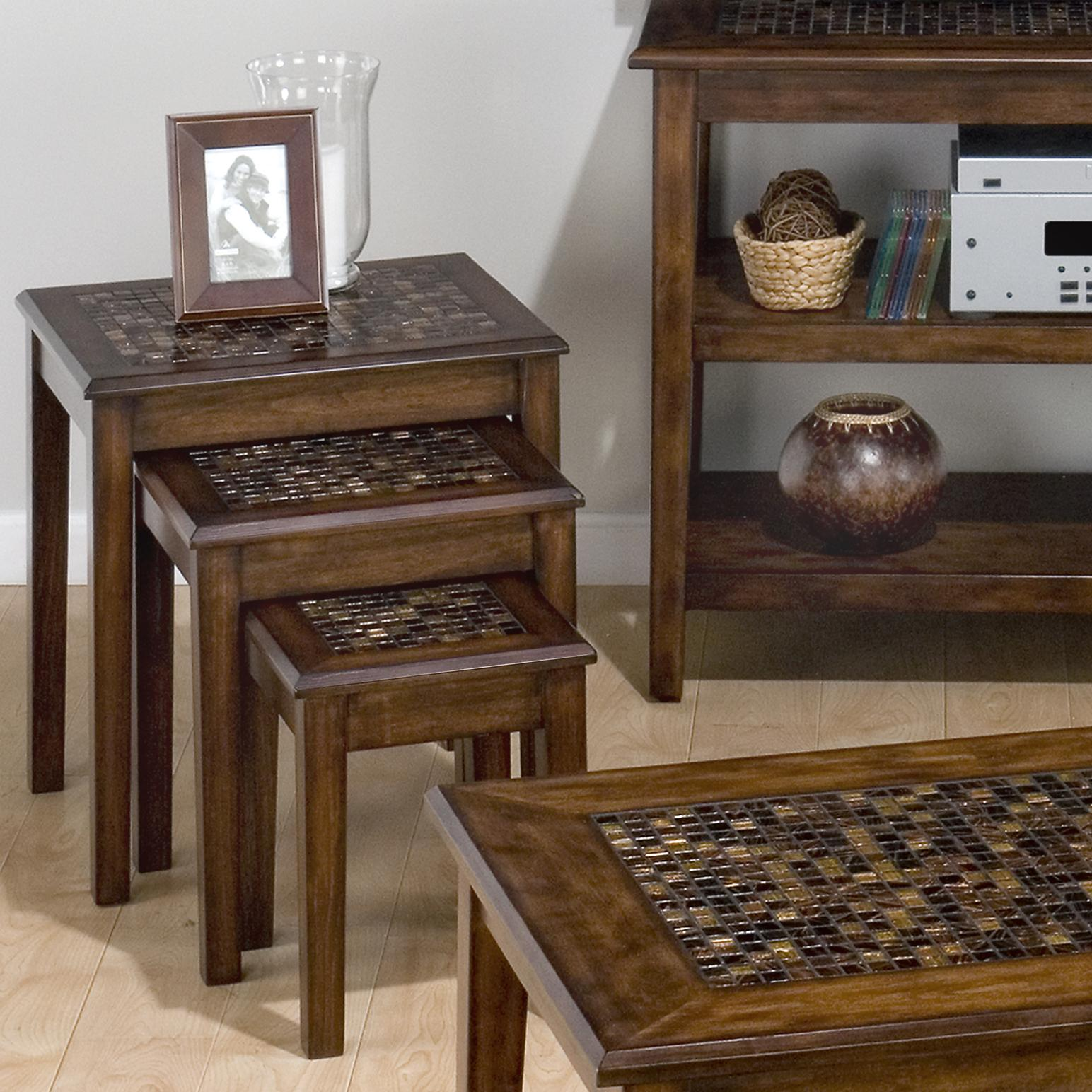 Jofran Baroque Brown 3-Piece Nesting Chairside Tables - Item Number: 698-7