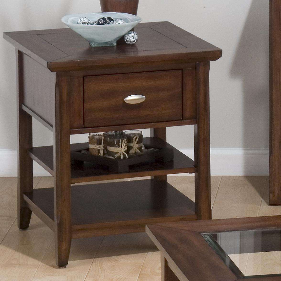 Bellingham Brown End Table w/ Drawer & 2 Shelves by Jofran at Pilgrim Furniture City
