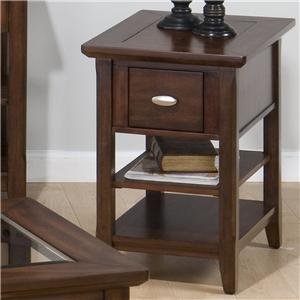 Jofran Bellingham Brown Chairside Table w/ Drawer & 2 Shelves
