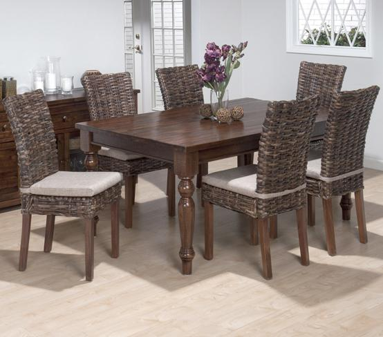 Jofran Urban Lodge 7 Piece Dining Set with Rattan Chairs - Item Number: 733-66+6x401KD