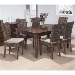 Jofran Urban Lodge 7 Piece Dining Set with Rattan Chairs