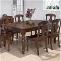 Jofran Urban Lodge 7 Piece Dining Set with Rattan Chairs and Rectangular Table - Set Includes Rectangular Table