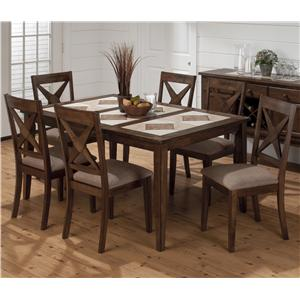 Jofran Tucson Brown  Tile Top Dining Table and Nova Chair Set
