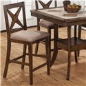 Jofran Tucson Brown  Counter Height X-Back Stool with Padded Seat - 794-BS221KD