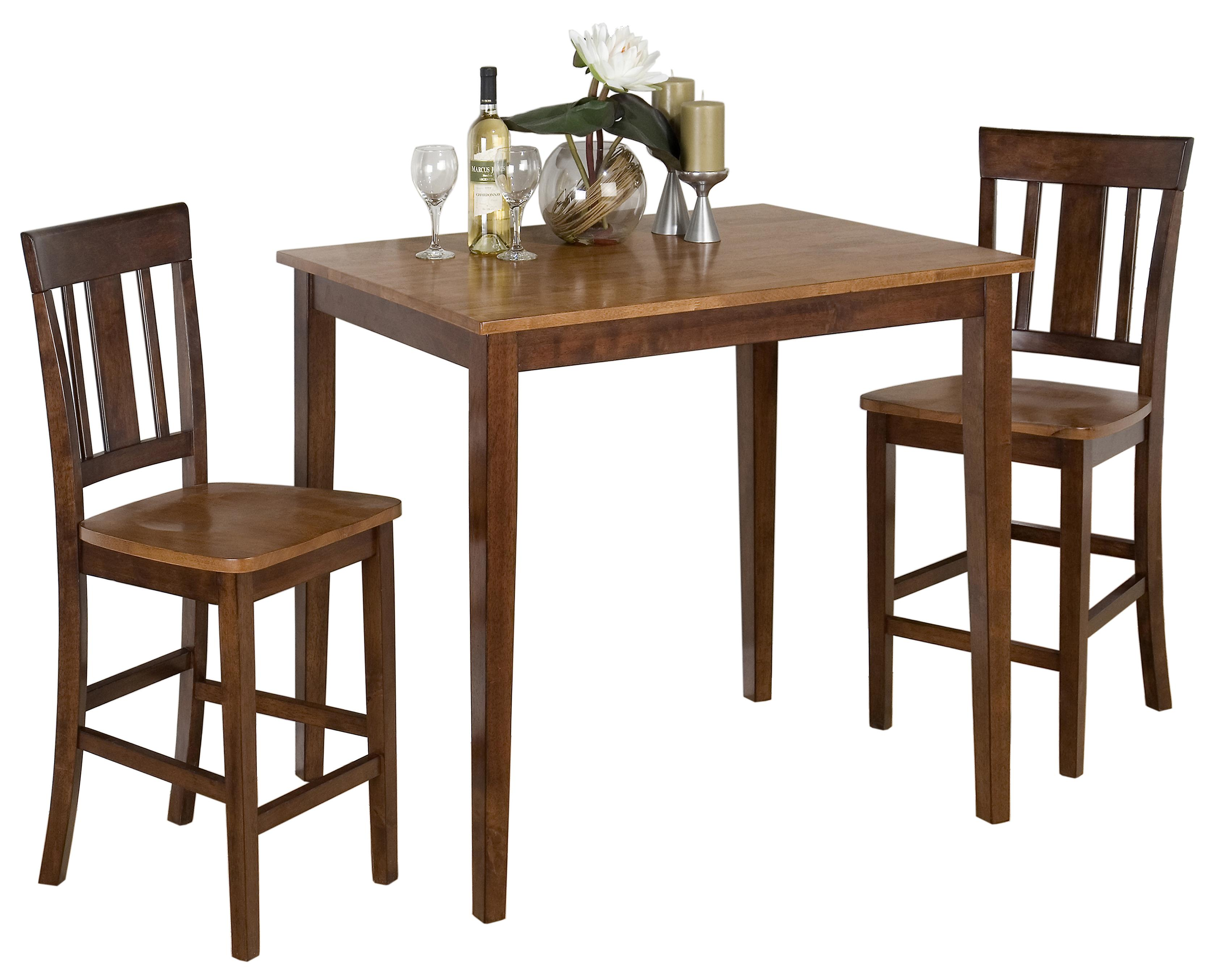 Jofran Kura Espresso and Canyon Gold 3-Piece Dining Set - Item Number: 875-30+2xBS265KD