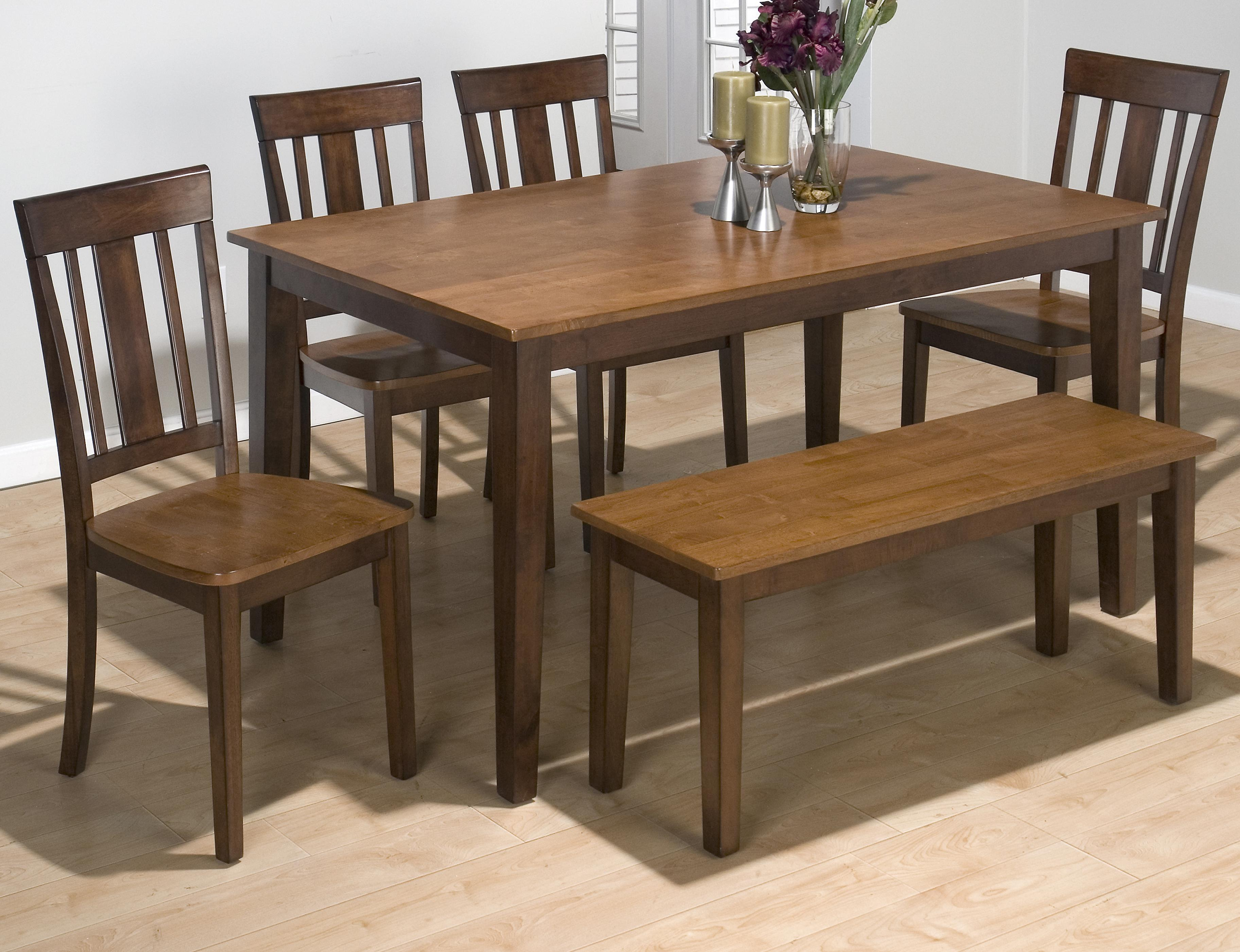 Belfort Essentials Kura Espresso And Canyon Gold Rectangle Table Set With 4  Chairs And Bench