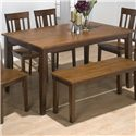 Jofran Kura Espresso and Canyon Gold Solid Rubberwood Rectangular Table - Item Number: 875-60