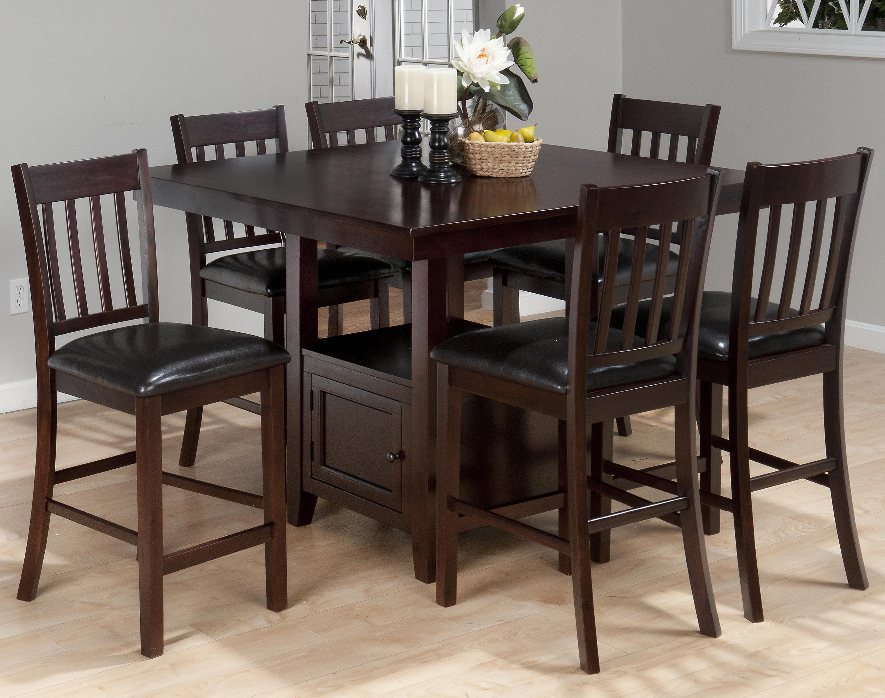 Jofran Tessa Chianti 7-Piece Counter Height Table Set - Item Number: 933-48T+B+6xBS429KD
