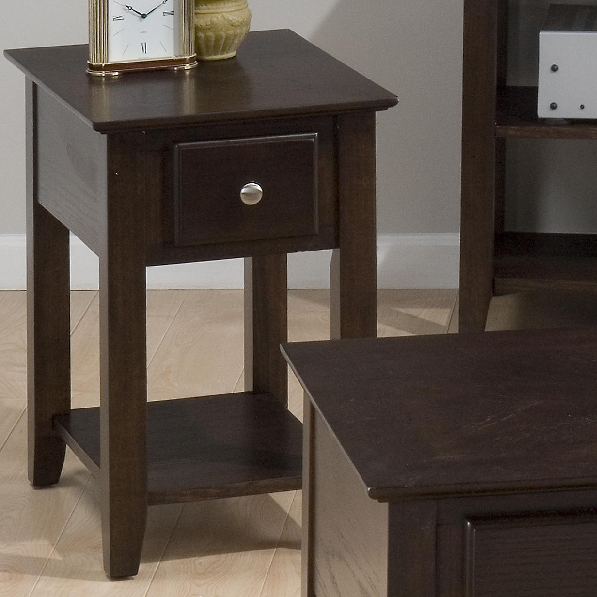 943 Chairside Table w/ Drawer and Shelf by Jofran at Pilgrim Furniture City