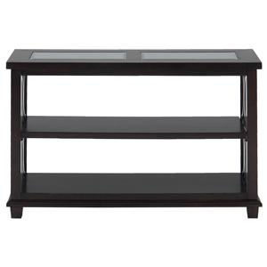 Jofran Panama Brown Sofa Table w/ Glass Top