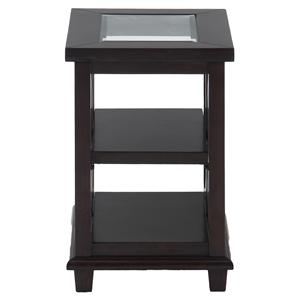 Jofran Panama Brown Chairside Table w/ Glass Top