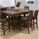 Jofran Caleb Brown Counter Height Table w/ 4 Bar Stools - Item Number: 976-72B+72T+4xBS671KD
