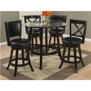 "Jofran Aaron Pub 42"" Round Pub Table with Glass Top Set"
