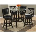 "Jofran Aaron Pub 42"" Round Pub Table with Glass Top Set - Item Number: 815-42B+G-42RD+2xBSS455KD+2x565KD"