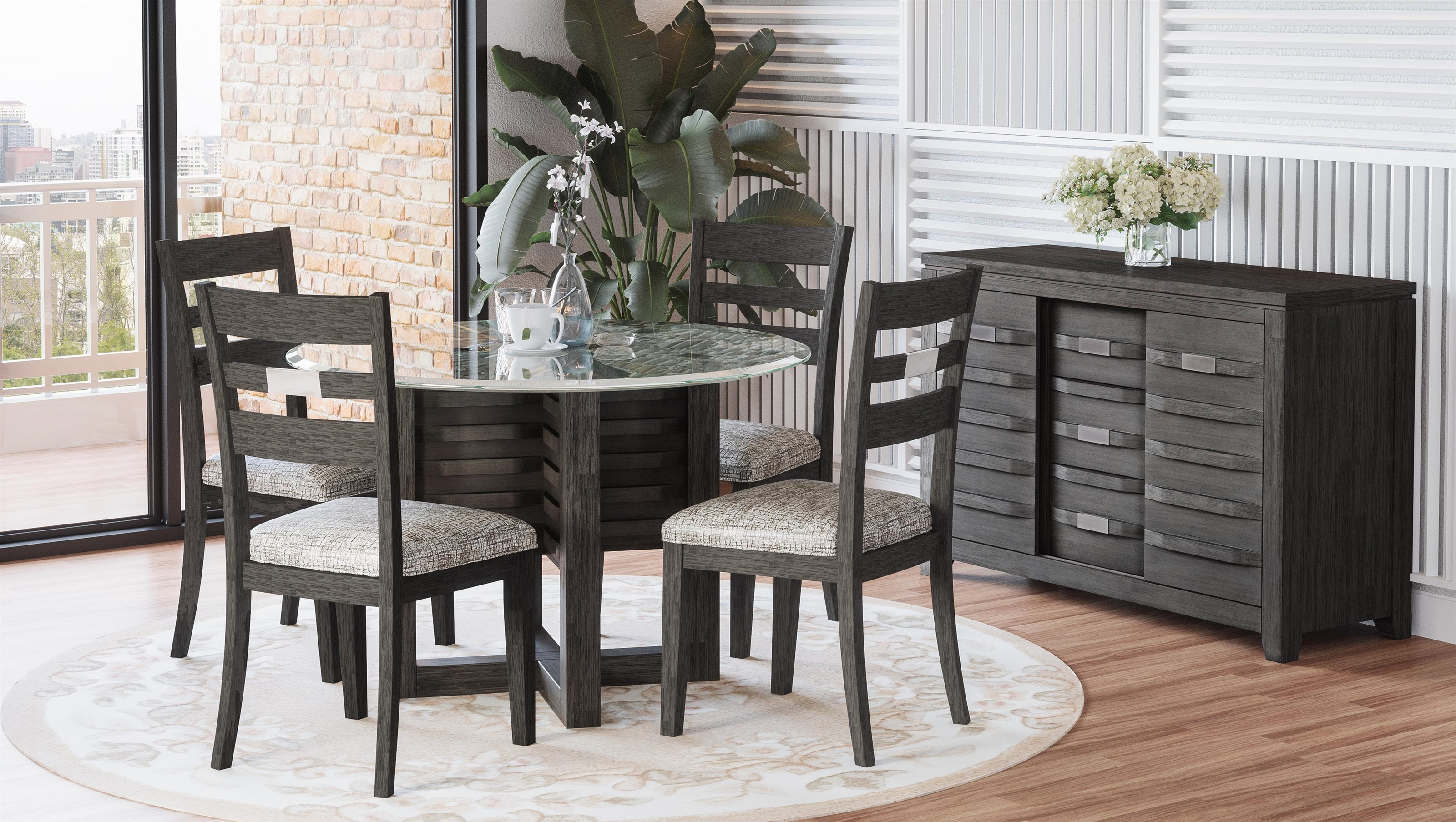 "48"" Round Glass Dining Table with 4 Chairs"