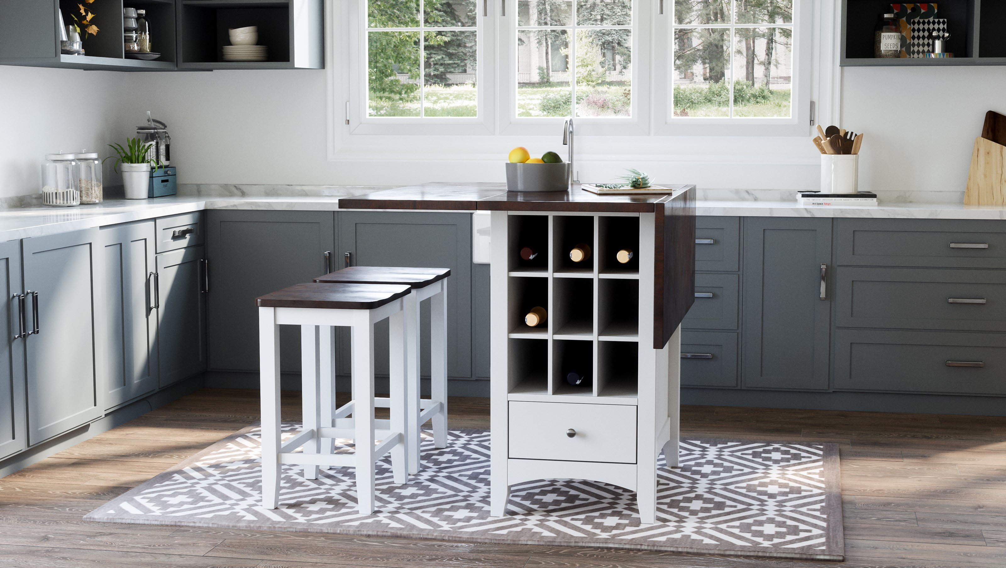 Asbury Park 3-Piece Counter Height Table and Stool Set by VFM Signature at Virginia Furniture Market