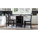 Jofran Asbury Park 5-Piece Counter Height Table and Stool Set - Item Number: 1846-48+4xBS395KD