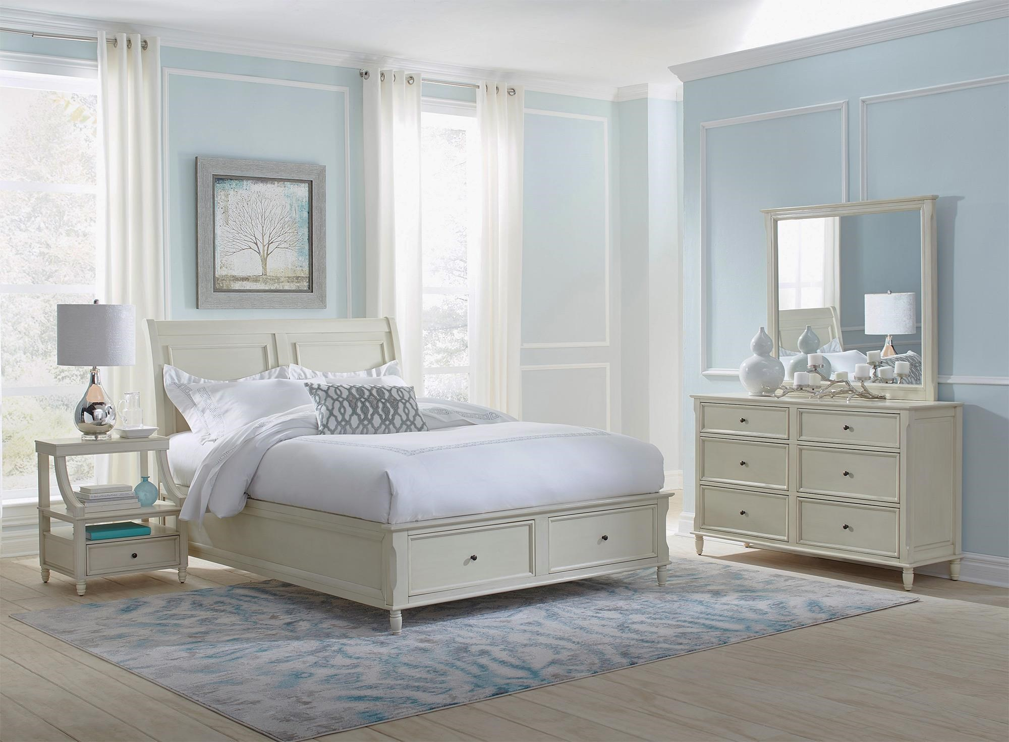 Emerson Ivory 4PC Queen Storage Bedroom Set Rotmans Bedroom