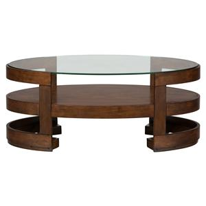 Jofran Avon Birch Oval Cocktail Table with Glass Top