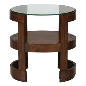 Jofran Avon Birch Round End Table with Glass Top