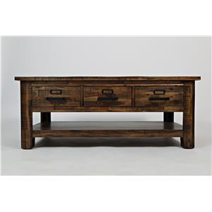 Jofran Calvin Cannon Valley Three Drawer Cocktail Table