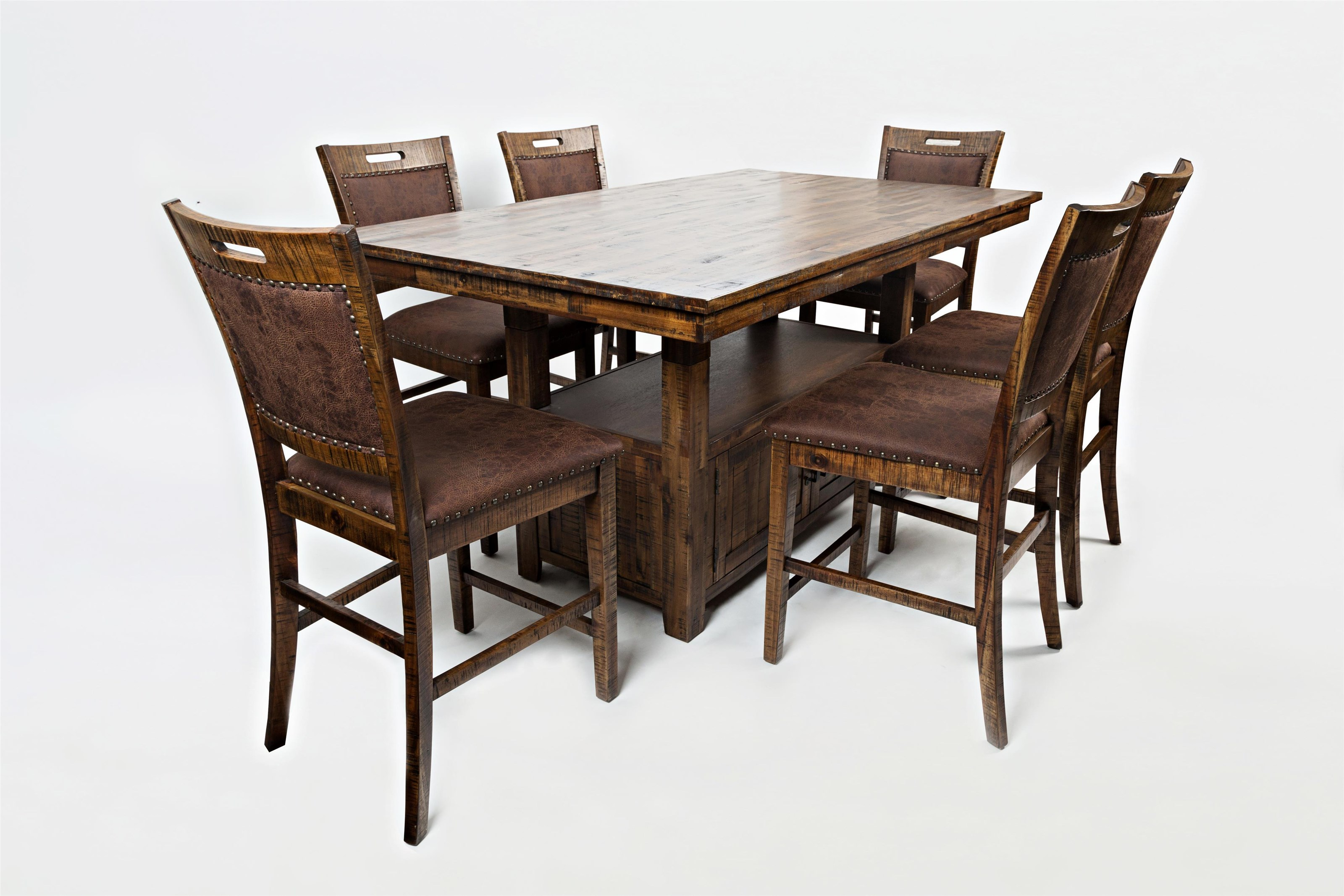 High/Low Pedestal Table & 6 Side Chairs