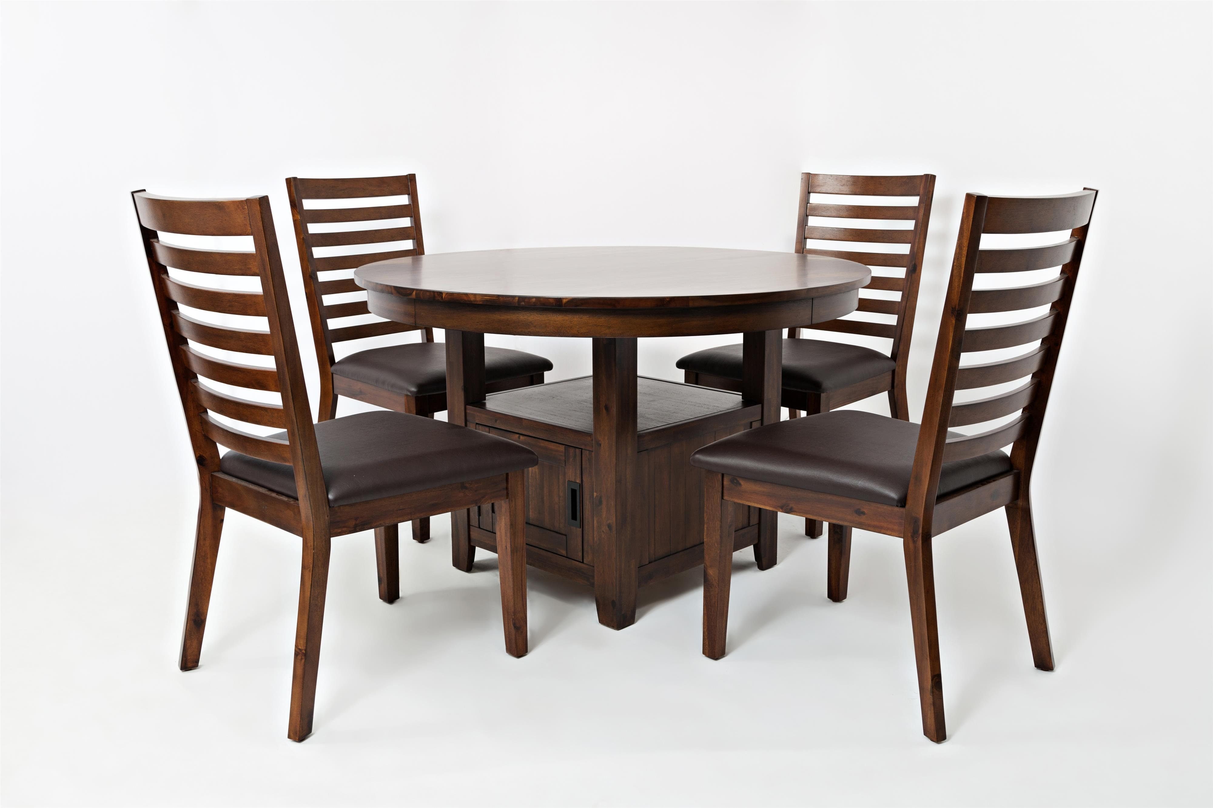 """Jofran Coolidge Corner 48"""" Round High/Low Table and Chair Set - Item Number: 1501-48B+48T+4x380KD"""