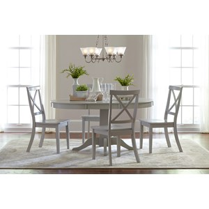 Round to Oval Dining Table and 4 Chair Set