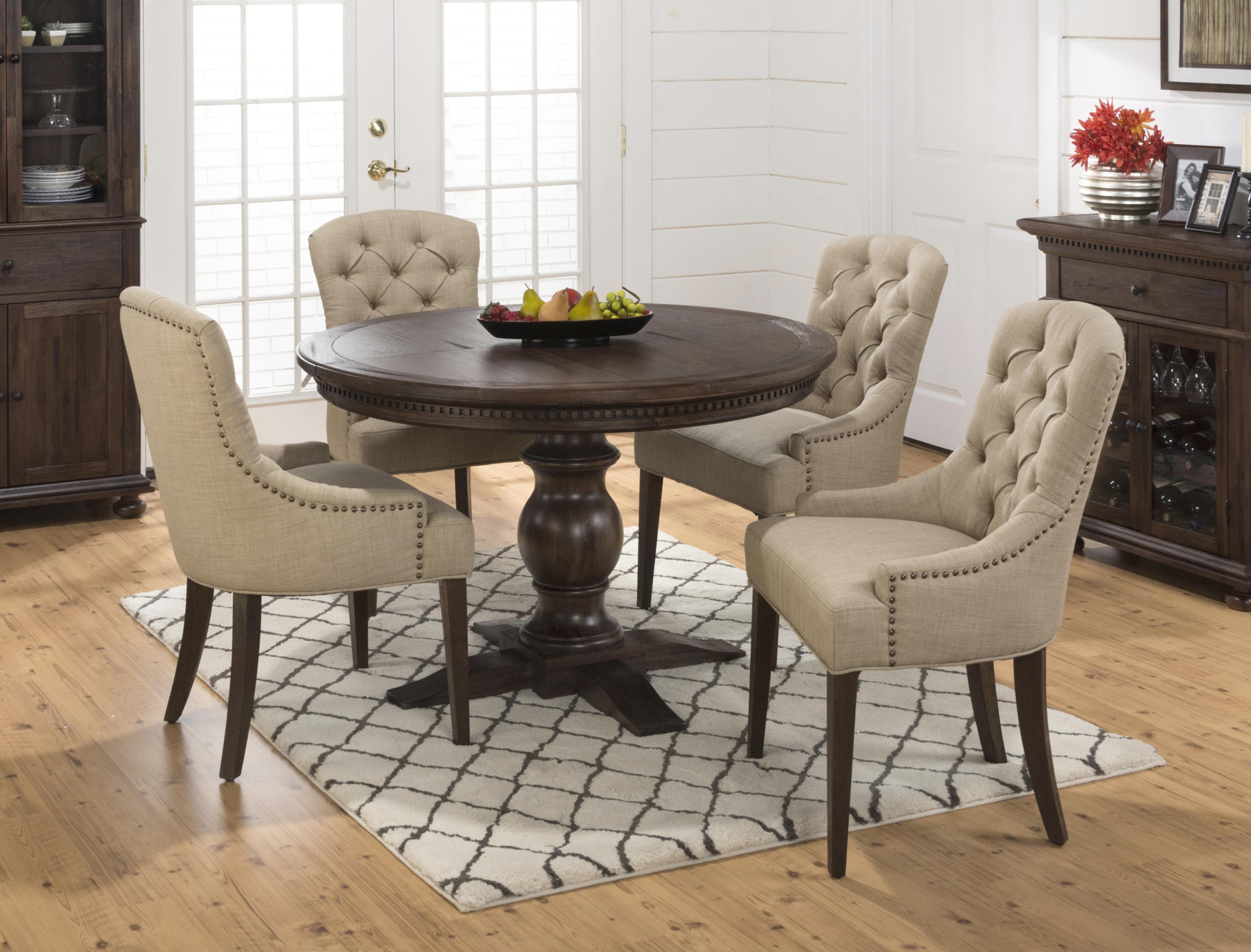 Jofran Evelyn 5PC Table and Upholstered Chair Set - Item Number: 678-60B+60T+4x212KD