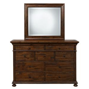 Jofran Geneva Hills Dresser with 9 Drawers and Mirror Set