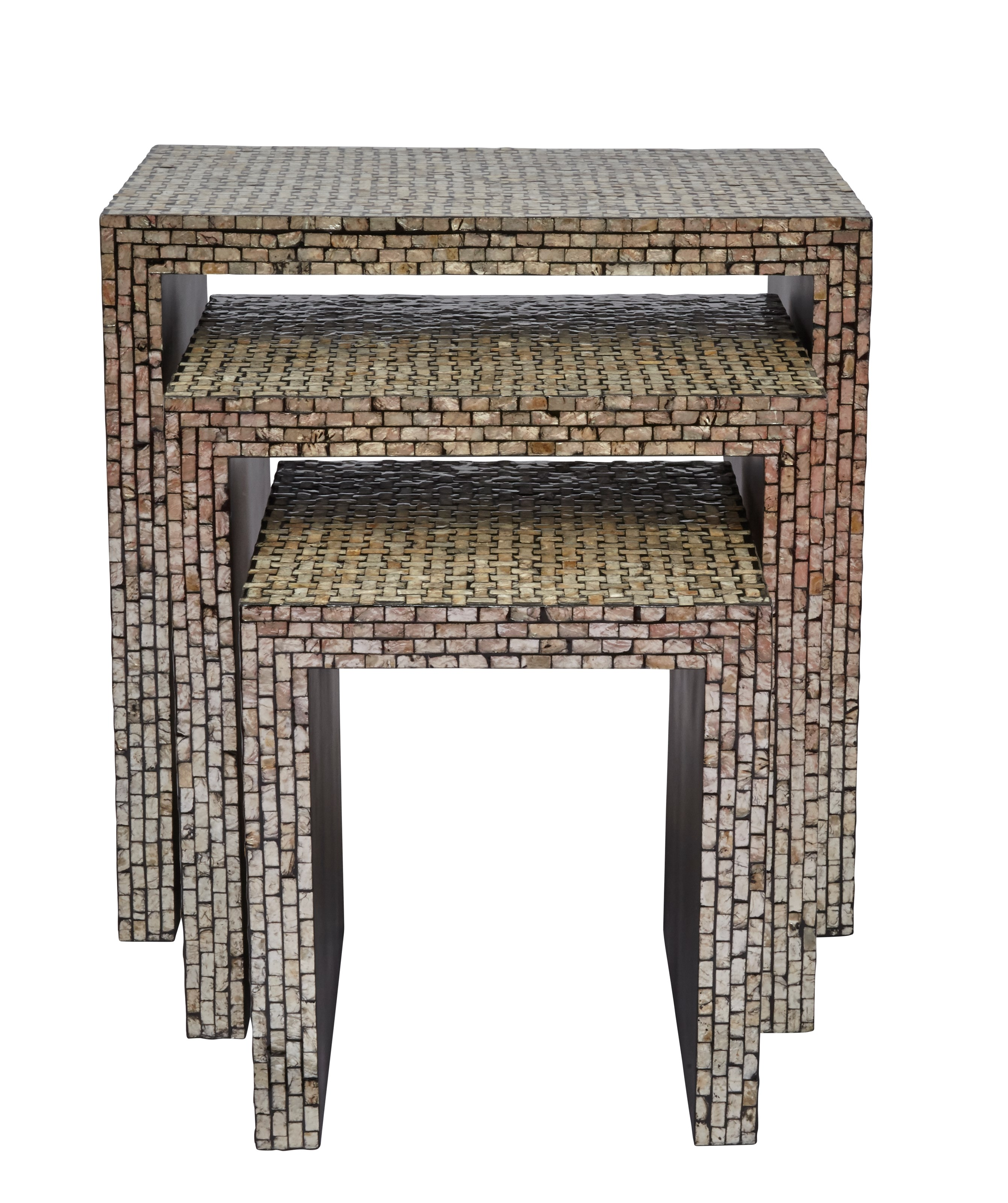Set of 3 Capiz Basket Weave Nesting Tables