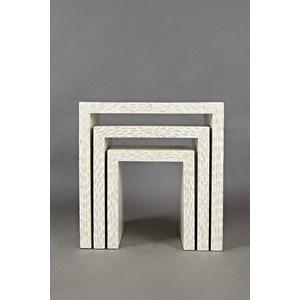 Jofran Global Archive Set of 3 Capiz Basket Weave Nesting Tables