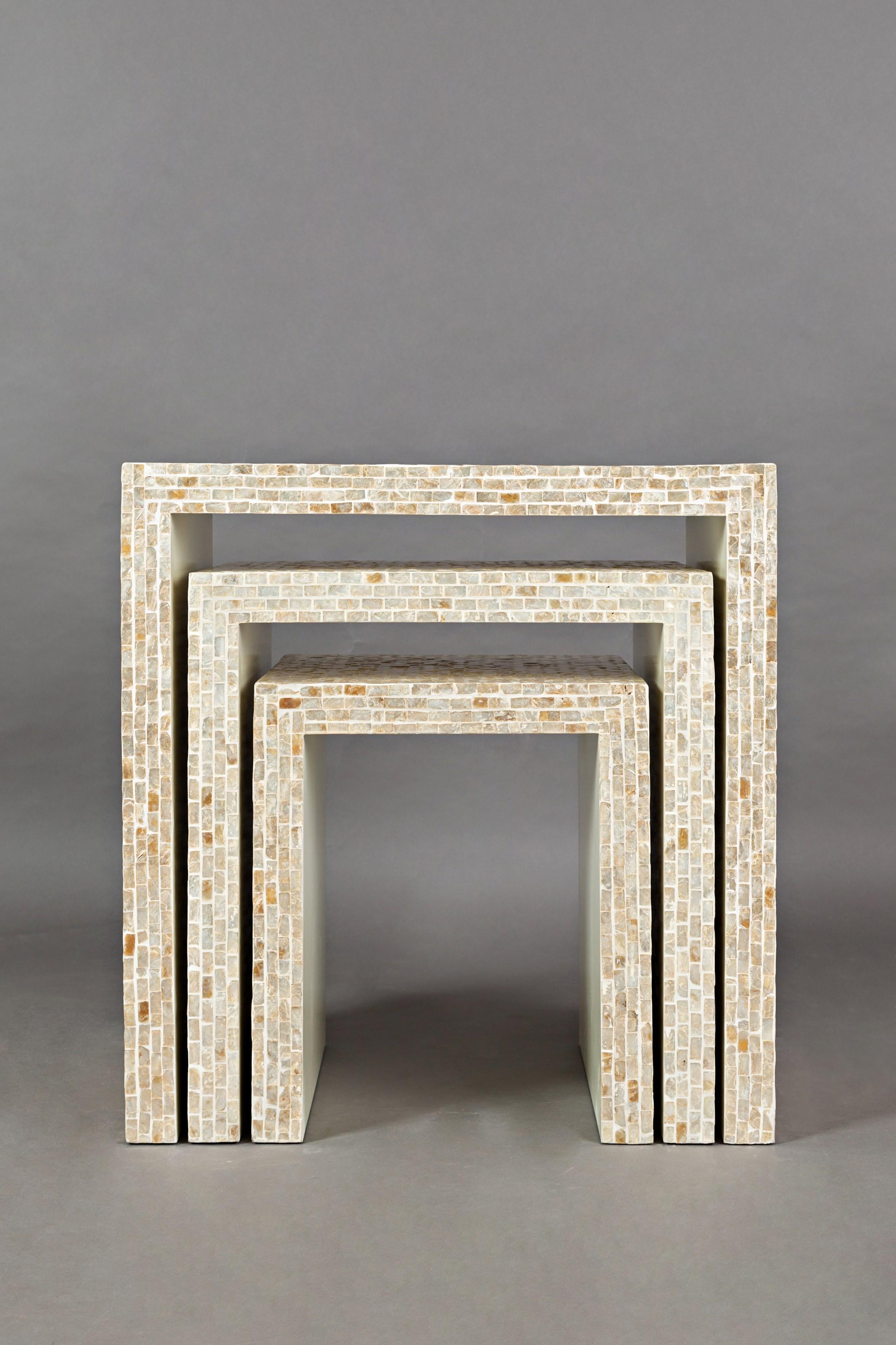 Jofran Global Archive Set of 3 Capiz Basket Weave Nesting Tables - Item Number: 1730-14SND